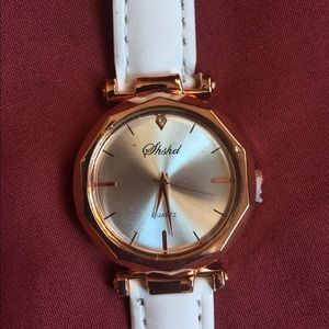 Womens White Leather Geneva Watch